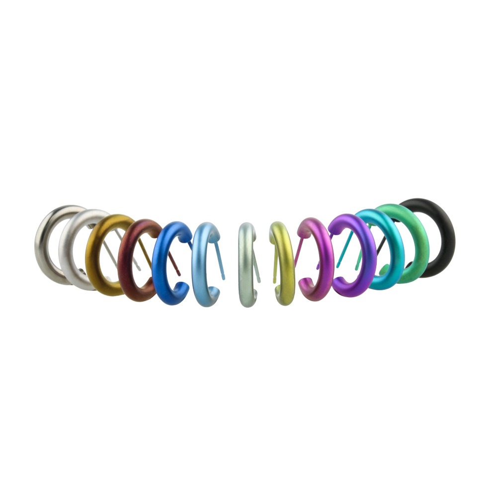 Small hoop studs on TouchTitanium.com Possibly the lightest, strongest and most hypoallergenic hoops you could ever own, our small hoop studs are perfectly formed and look fantastic in a wide range of colour options. We also offer these delightful little hoops in polished, satin and black.