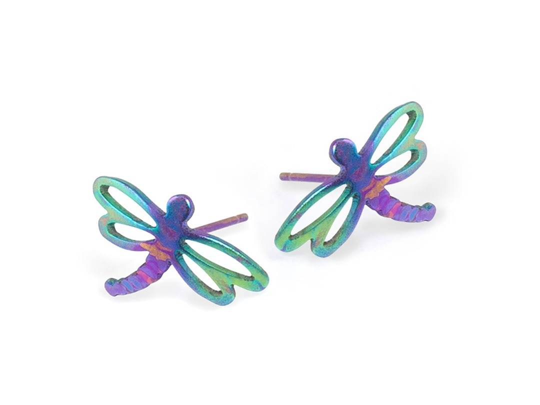Dragonfly studs on TouchTitanium.com <p>Beautiful, elegant and vibrant, the dragonfly studs are perfect for wearing every day. Stamped and hand finished from titanium with a set of titanium butterfly clasps. Exclusively available in etched titanium rainbow pattern. Each one is unique.</p>