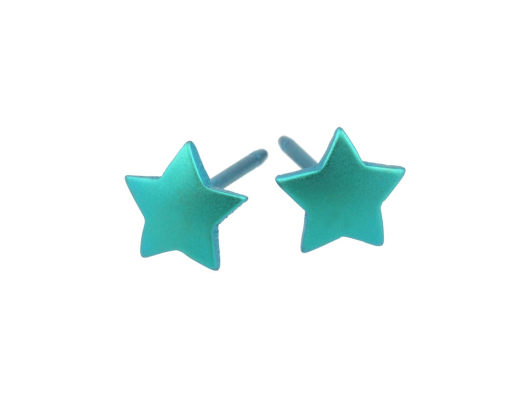 Star studs on TouchTitanium.com These star stud earrings are out of this world! Handmade in titanium measuring 6mm diameter with titanium butterfly clasps. Available in a range of colours. These perfect little stars are hypoallergenic and safe to wear for all skin types.