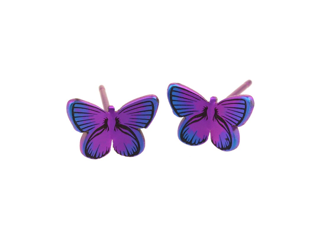 Butterfly studs on TouchTitanium.com High quality, handmade butterfly studs, available in an exclusive range of colours. Laser engraved, hand finished and anodised for a stunning result in every variation. Completely hypoallergenic and safe to wear for all skin types.