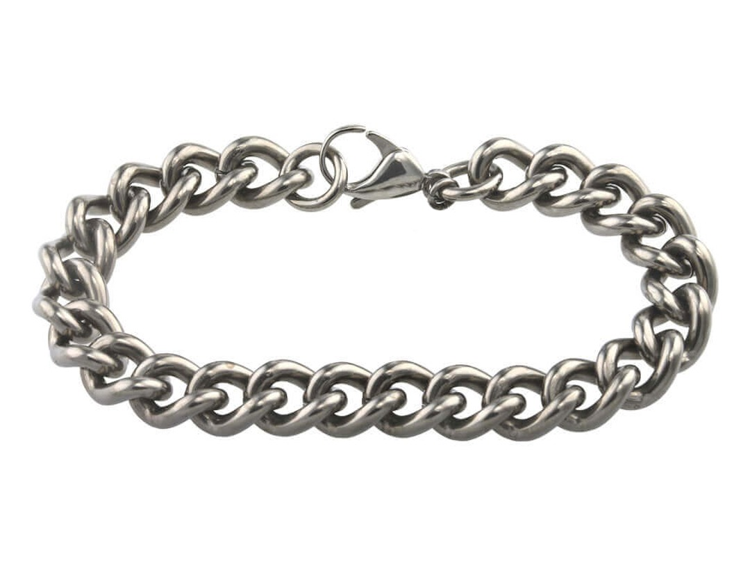 Strong titanium chain bracelet on TouchTitanium.com Reassuringly strong 100% hypoallergenic titanium bracelet chain. 10.6mm wide links make up this epic bracelet for men or women. Incredibly strong and durable titanium links, available in one finish with a titanium lobster catch. Precision made and completely hypoallergenic. Safe to wear for all skin types.