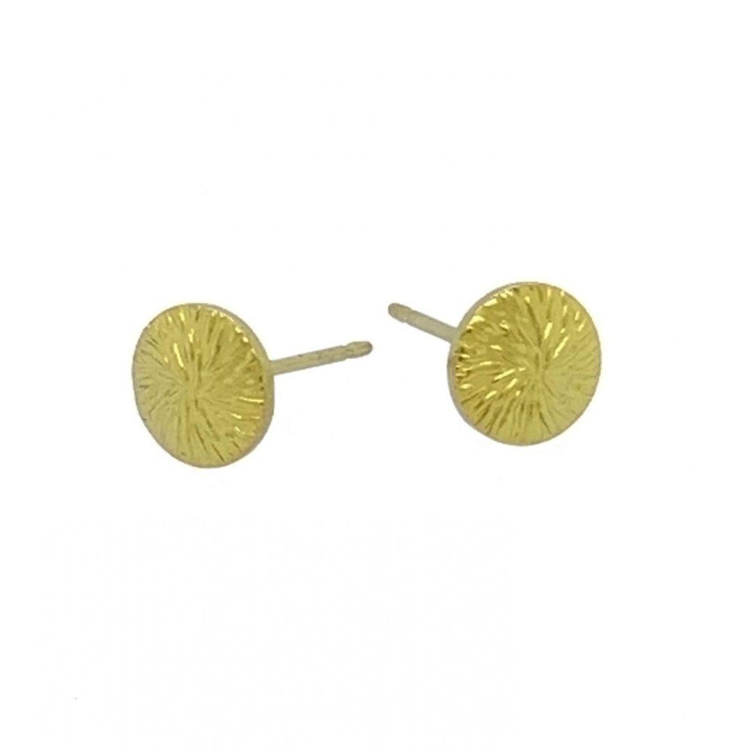 Yellow Titanium studs. Hypoallergenic jewellery from TouchTitanium.com