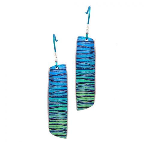 Green Titanium artist drop earrings